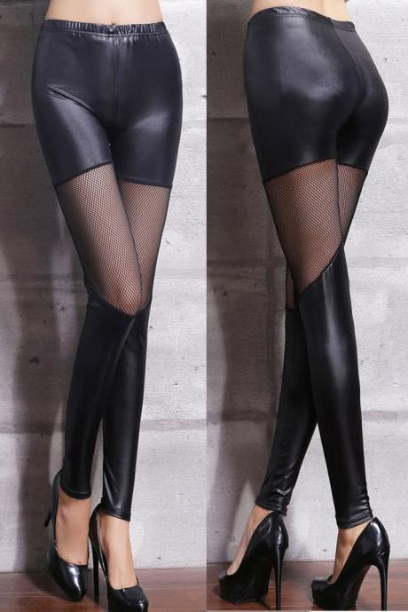 Sheer Mesh Panel Black PU Leggings